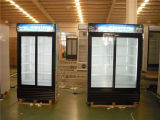 Double Door Upright Showcase Transparent Door Cooler with Dynamic Cooling