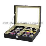 Lunettes de soleil en cuir noir un emballage cadeau Box