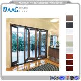 Perfil de aluminio de eficiencia energética de la puerta plegable de doble acristalamiento y perfiles de muro cortina