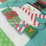 La Navidad modificada para requisitos particulares muñeco de nieve Glittering vende al por mayor los bolsos de papel del regalo