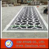 Decoración del pasillo que dibuja el medallón de mármol blanco negro (DES-MDL13)