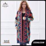 Cardigan de chandail surdimensionné de Knit de femmes long