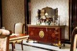0063イタリアDrakブラウンカラー椅子の標準的な食堂セットが付いている木デザイン純木のダイニングテーブル