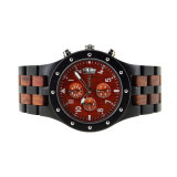 Relógio de pulso de madeira dos homens do relógio da faixa Multifunction de Qaurtz Bewell do Mens