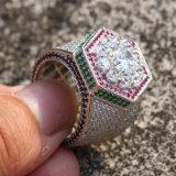 Il micro della CZ dell'oro impilato ghiaccio pavimenta gli anelli del Mens