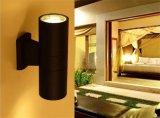 100-277V IP65는 실린더 빛의 아래 이른 가벼운 온난한 백색 9W*2 LED 벽 Sconce 정착물 램프 알루미늄 옥외를 방수 처리한다