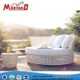 贅沢な円形の余暇の藤の寝台兼用の長椅子のクッションが付いている柳細工のラウンジのベッド