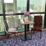 가죽 착석 의자를 가진 다방 가구 나무로 되는 테이블