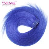 イボンヌペルーのRemyの毛の拡張自然でまっすぐなカラー青の毛