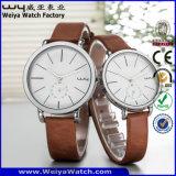 Il quarzo su ordinazione del cinturino di cuoio di vigilanza di marchio coppia gli orologi (Wy-088GD)