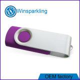 Mecanismo impulsor blanco de la memoria del palillo del USB del eslabón giratorio de la insignia libre