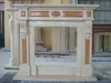Biancoカラーラの白い大理石の暖炉