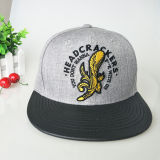Custom 3D Bordados Leisure Black Bill Snapback Lã da PAC