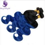 재고 1b/Blue Ombre 색깔 인간적인 Remy 머리 직물