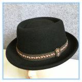 Senhora moda chapéu de feltro de lã com fita