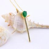 Langkettiges hängendes reines Kristallgold überzogene Halsketten-Schmucksachen