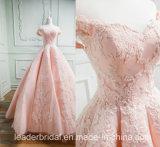 O tampão Sleeves o vestido de esfera nupcial 2018 E7811 do baile de finalistas do laço da cor-de-rosa do vestido