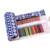 Segeltuch-Bleistift-Kasten-Schule-Bleistift-Beutel mit elastischen Feder-Schleifen