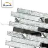 Banda de acero inoxidable plateado brillante mosaico de vidrio