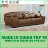 Amerikanisches hölzernes Bein-echtes Leder-Weinlese-Sofa