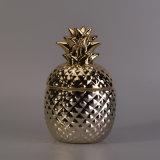 Recipiente cerâmico de galvanização da vela do abacaxi do ouro