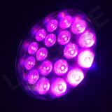 luz delgada ULTRAVIOLETA 6 de la etapa de 18 pedazos LED de 18W RGBWA en una