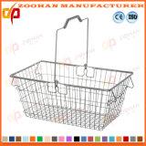 Panier à provisions portatif en plastique durable de traitement de double de supermarché de panier (Zhb101)