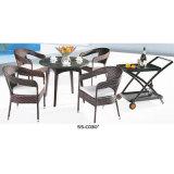 A tabela de jantar ao ar livre de vime do Rattan ajustou-se com coxim de assento
