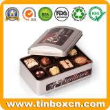 Poder de estaño rectangular de encargo del chocolate del metal para el rectángulo del acondicionamiento de los alimentos