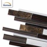 Una buena calidad en el interior de lujo tira marrón Mosaico de vidrio para decoración