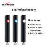 심천 공장은 E 담배 건전지 Ocitytimes S18 Vape 펜 Cbd 변하기 쉬운 전압 380mAh Vape 건전지를 미리 데운다