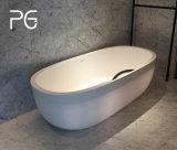 ページの浴室のよい価格の高品質の鋳造物の石の固体表面の支えがない楕円形の大きい浴槽