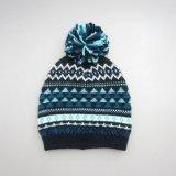 겨울 모자에 의하여 뜨개질을 하는 모자 POM POM 베레모 모자 자카드 직물 베레모 모자