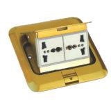 De vierkante Gouden Contactdoos van de Vloer van het Type van Lente van 2 Troep Multifunctionele