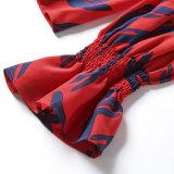 نساء جديدة ثوب طبع إندفاع حريري مع يتأجّج كم [شيرتينغ] كم قميص