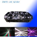 De lichtstraal die van de spin Hoofd10W*8 RGBW bewegen