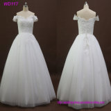 A - Zeile WegSchulter bördelt Dekoration-Hochzeits-Kleid