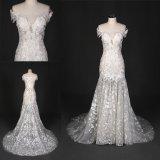 Zoll bilden weg vom Schulter-Nixe-Spitze-Brautkleid-Hochzeits-Kleid