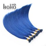 Grau superior 22 pol ponta da unha de cor azul de extensão de cabelo humano