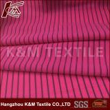 92%ポリエステル8%Spandex Tシャツのための4つの方法伸縮織物を編む多彩な縞ポリエステル