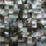 Azulejo de mosaico cuadrado negro del shell 15*15m m de la fregona del labio