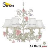 Vente chaude en fer forgé 5 lampes en céramique fleur lampe de plafond décorative avec UL