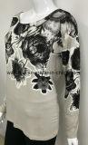 Soft simples T shirt de manga longa para as mulheres com impressão de Borracha