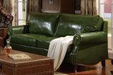 Sofá americano do couro genuíno do vintage para a sala de visitas (HCB020)