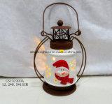 LED iluminado linterna de cerámica de Santa para la decoración de Navidad