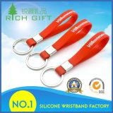 Silicone vermelho Keychain com impressão branca para a venda por atacado