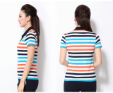 100% Pique Cotton Comfortable Stripe Polo