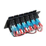 6명의 갱 알루미늄 파랑 LED 로커 스위치 위원회 회로 차단기 차 RV 배 해병