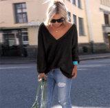 Herbst-Form-Frauen-V-Necked lange Hülse lösen Strickjacke