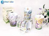 Unique Lavender Decal Porcelaine Tea to Go Cup